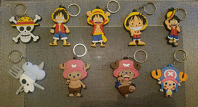 One Piece Keychain Anime Luffy Pirate Chopper 1x Keyring Double Sided UK Seller!