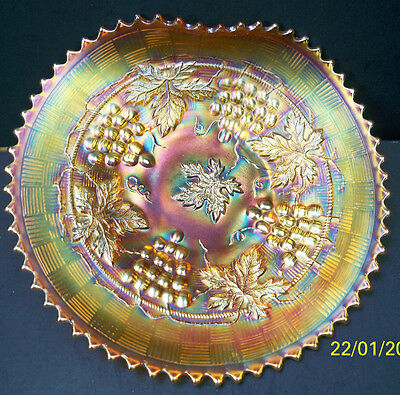Northwood Marigold Grape & Cable Carnival Glass Handled Plate~Super Color~Signed