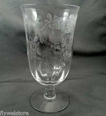 Fostoria Willowmere Iced Tea Clear Paneled Optic Glass w Etched Roses 5.75""