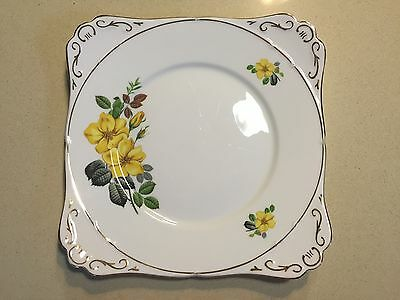 Vintage Royal Stafford Yellow Rose China Bread / Wedding Cake / Sandwich Plate