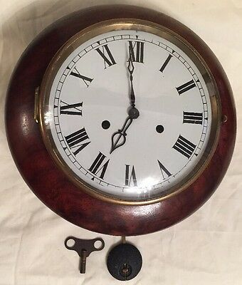 "SUPERB 10""inch SMITHS WOOD BRASS WALL CLOCK  WORKING"