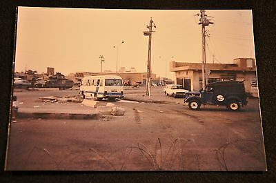 Early Iraq War Photograph 5 X 7 Original 'baghdad Road Scene Armor & Barbed Wire