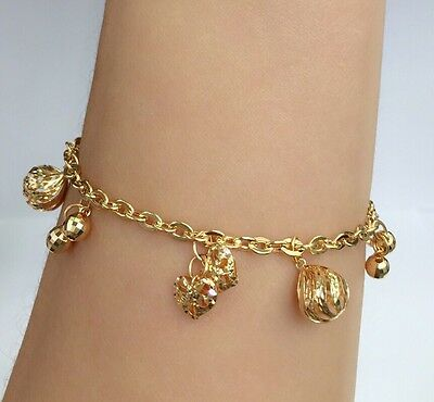 18k Solid Yellow Gold Cute Mix Charms Italy Bracelet, 6.75 Inches, 7.37 grams