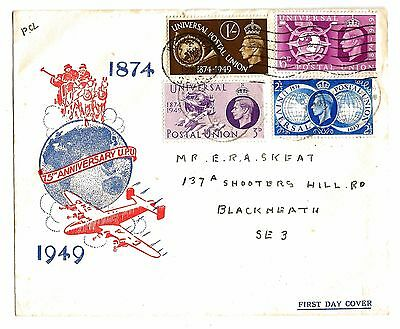 1874 - 1949 Universal Postal Union First Day Cover 75th Anniversary UPU cat £70.