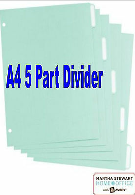 4 x Martha Stewart Home Office - A4 5 Part Dividers with tabs