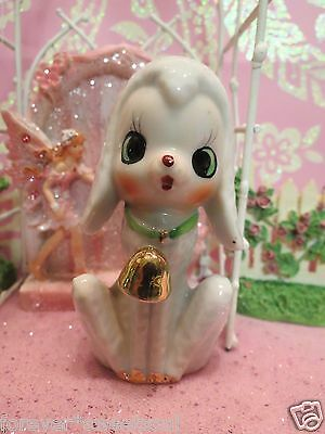 Vtg Nursery Rhyme Anthropomorphic Baby Lamb ~ Sheep w Gold Bell & Green Collar