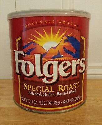 Vintage Folgers Special Roast 2 lb Metal Coffee Can With Lid