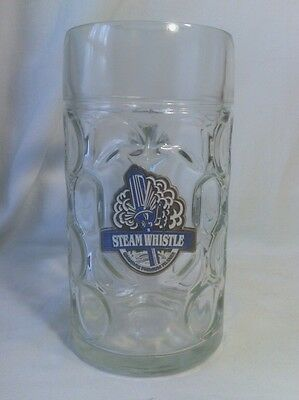 """Large Glass Beer Mug, Steam Whistle Logo, Canadian, 8"""" Tall"""