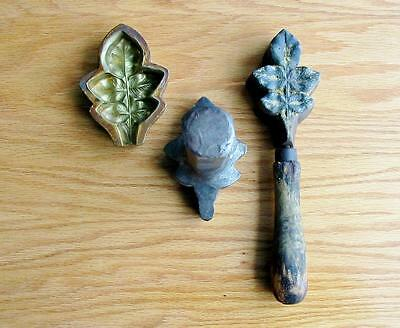 Rare Vintage Millinery Leaf Flower Iron Tool Mold Brass Antique Cutter #16