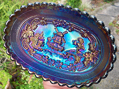 Antique Imperial Glass Carnival ELECTRIC Windmill Pickle Dish~Perfect WOW Color