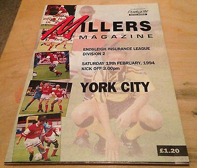 1994 Rotherham United v York City programme Div.2 19th Feb