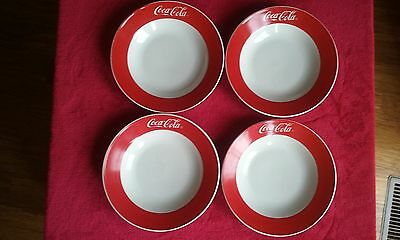 """4 Coca-Cola Red & White 8"""" Round Gibson Soup/Cereal Bowls 1997"""