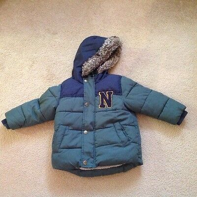 baby boys warm fur lined quilted winter coat 12/18 months