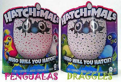 HATCHIMALS Egg ACTIVE PLUSH PET PLAYMATE DRAGGLES BLUE GREEN  PENGUALAS PINK RED