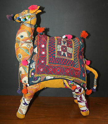 VTG Camel Figurine Hand Woven India 100% Cotton Solid Stuffed