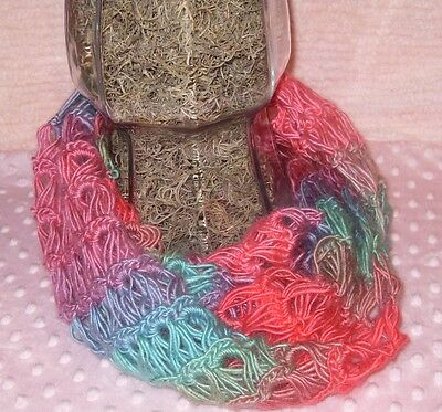 Crochet broomstick lace infinity scarf soft pastels winter cowl necklace accent