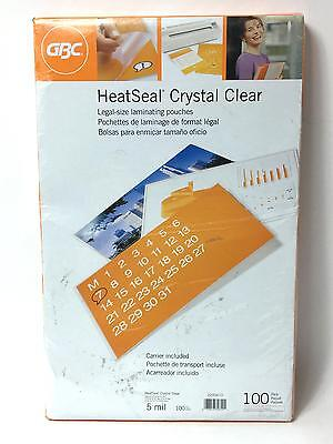 Pack of 100 GBC Heatseal Crystal Clear Legal Size Laminating Pouches (5 mil)