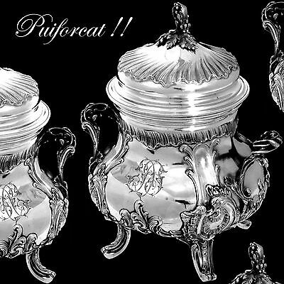 PUIFORCAT Imposing French Sterling Silver Vermeil Sugar Bowl Rococo 616 grams