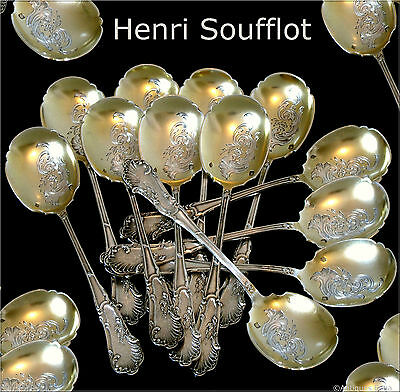 SOUFFLOT French All Sterling Silver Vermeil Ice Cream Spoons Set 12 pc Rococo