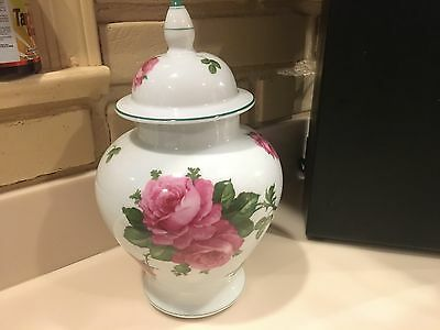 possibly French lidded jar with big beautiful hand painted roses estate find