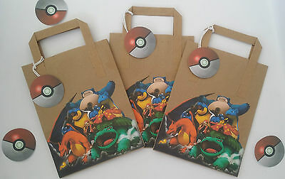 Pokemon party bags, lunch bags, party favours bags