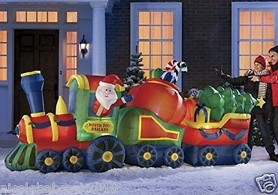 144' Christmas Santa Train W/ Trees & Candy Airblown Inflatable Yard Decor