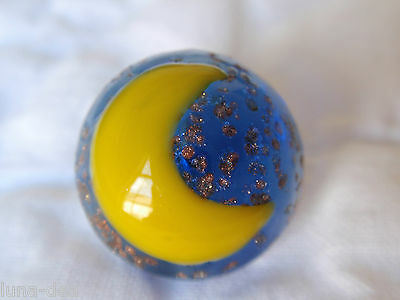 Vintage Cobalt Blue GLASS Charmstring BUTTON Yellow MOON Goldstone Dome