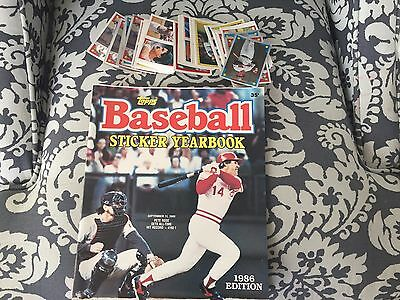 1986 Topps Sticker Yearbook & Lot of (215) Stickers MINT Pete Rose
