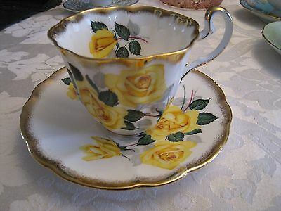 Adderley Yellow Rose Tea Cup & Saucer Brushed Gold Edges H1082