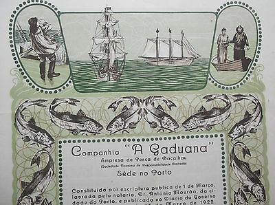 """Portugal Titles of Shares, Company """"A Gaduana"""" cod fisheries 1922"""