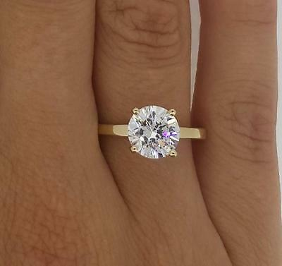 1.5 ct VS1 Round Cut Diamond Solitaire Engagement Ring Yellow Gold 14k 263044