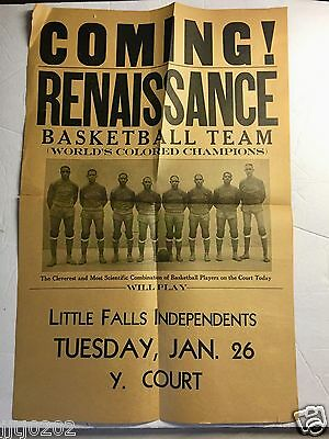 RARE 1932 Renaissance Basketball Team Game Poster Worlds Colored Champions