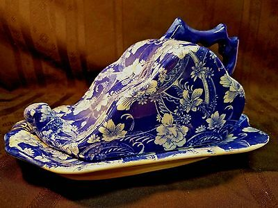 Victoria Ware Ironstone Cheese/Butter Dish & Cover - Vintage,Blue & White Floral