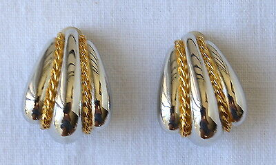 St John  Earrings Collection Vertical Wide Blaze Silver, Gold Color Lines Marked