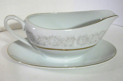 QUEENS BROCADE Fine China Japan GRAVY BOAT Attached Underplate White Roses Gray