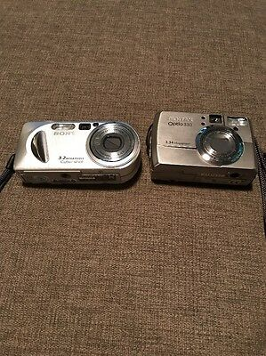 Sony And Pentax Used Digital Camera Lot Of 2 DSC-P8 And Optio 330 As-is