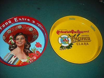 Lot Of Two Vintage Beer Trays Corona / Pacifico / Modelo       Free Ship