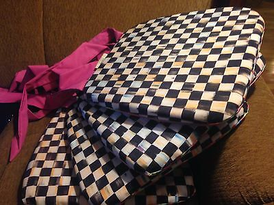 Set of 4 MacKenzie-Childs COURTLY CHECK FABRIC Seat Cushion Pink Ties Stripe