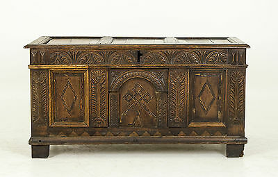 B614 18th Century Scottish Hand Carved oak Coffer, Blanket Chest