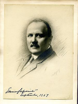 Ernest Lapointe 1876-1941 Canadian Politician Original Drawing With Signature