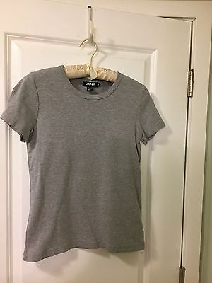 DKNY Women's Sz. S Heather Gray Short Sleeve Cotton Blend Top - EUC-Classic