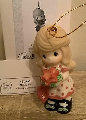 Precious Moments Wishing You A Beautiful Christmas 2016 Ornament  #161002 Girl