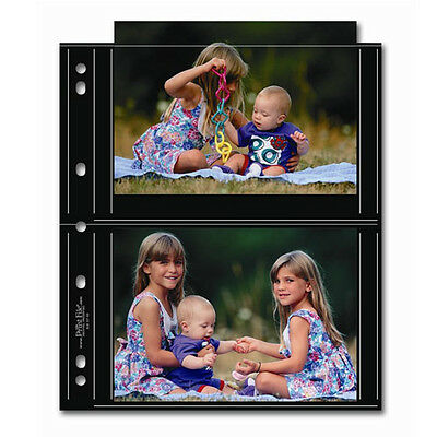 """50x PRINT FILE 5 x 7"""" Photo Pages Sleeves Clear Archival Preservers BLK 57-4S i"""