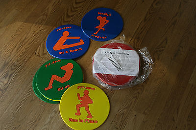 """Set of 12 Childrens Fit Spots 8 7/8"""" w/Various Exercises & Colors NEW LOT"""