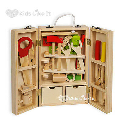 KIDS BOYS Wooden Carpenter Tool Box Pretend PLAY Set Natural Timber Hand Crafted