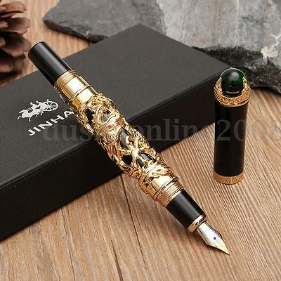 JINHAO Medium M Nib 18KGP Golden Dragon Fountain Pen Clip Business Men Writing