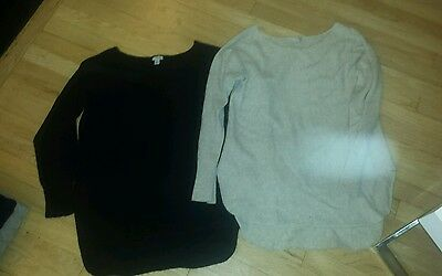 Lot of 2 Nordstrom Halogen 100% Cashmere Sweater High Low Heather Grey Black M P