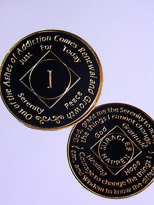 Narcotics Anonymous - Enameled Medallion - Black/gold - 1To 40  Year Anniversary