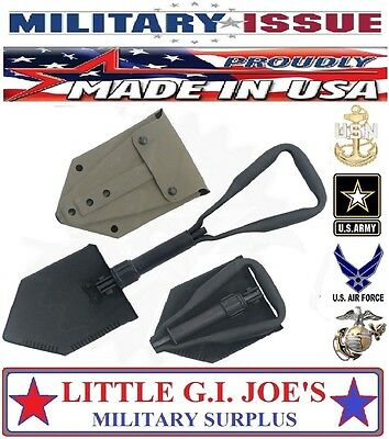 """NEW Military Issue Entrenching Tool Trifold Folding E-Tool Shovel & Cover """"AMES"""""""
