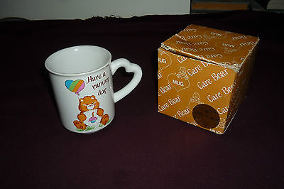 Vintage 1983 AGC Carebears Birthday Bear Have a Yummy Day Ceramic Mug W/Box